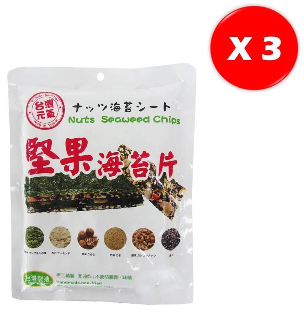 【台灣元氣】堅果海苔片 (3包/組)