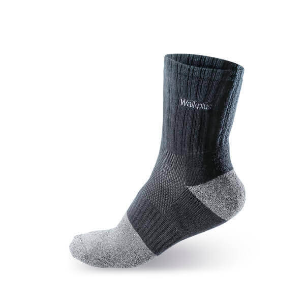 【WALKPLUS】奈米醋酸銀系列-除臭毛巾短襪(黑色)