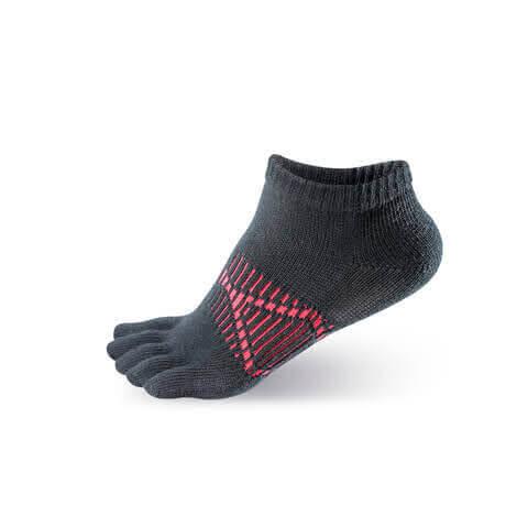 【WALKPLUS】X型足弓加壓五指襪(黑)